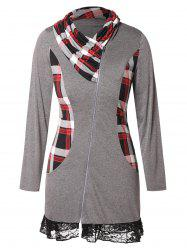Plus Size Lace Insert Plaid Zip Fly  Coat -