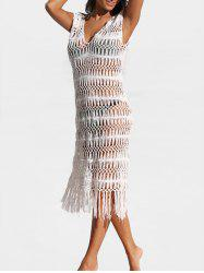 Plunging Neck Sheer Sweater Dress -