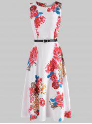 Belted Flower Flare Dress -