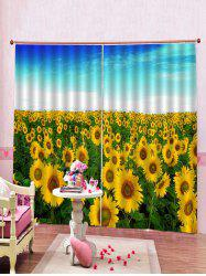 2PCS Sunflower Print Window Curtains -
