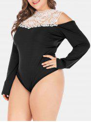 Plus Size Lace Insert Cold Shoulder Bodysuit -