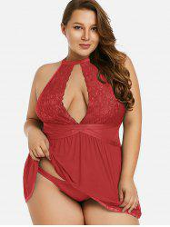 Front Cut Out Plus Size Mesh Babydoll -