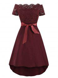 Off The Shoulder Lace Insert Belted Vintage Dress -