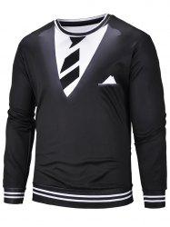 3D Tie Suit Print Long Sleeve Sweatshirt -