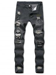 Cartoon Embroidered Design Distressed Jeans -