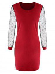 Dot Mesh Panel Mini Dress -