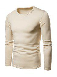 Basic Solid Color Fleece T-shirt -