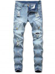 Button Embellish Destroyed Jeans -