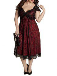 Eyelash Lace Hem Plus Size Cap Sleeve A Line Dress -