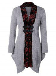 Plus Size Floral Trim Asymmetrical Cable Knit Cardigan -