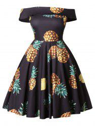 Off The Shoulder Plus Size Pineapple Print A Line Dress -