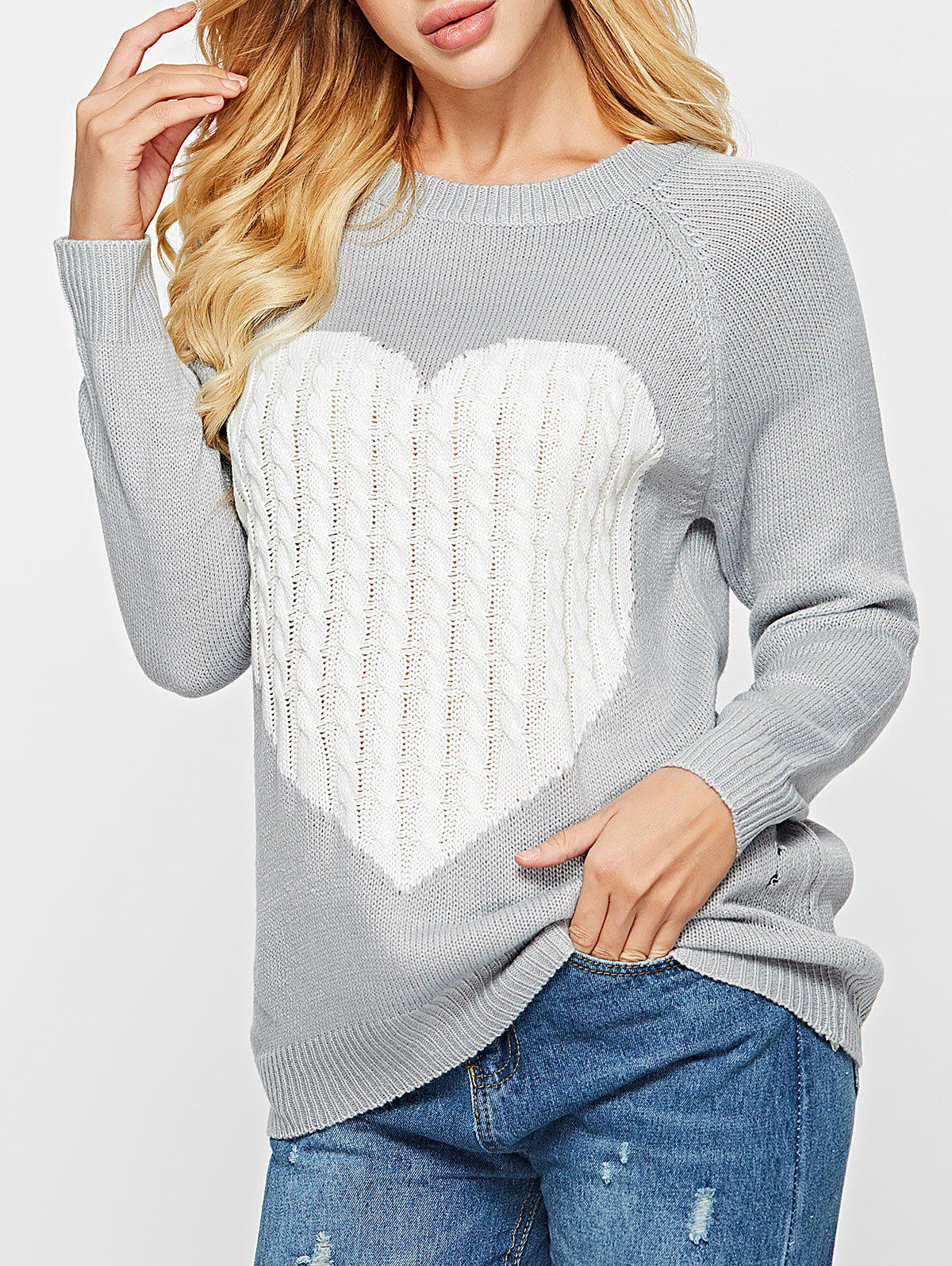 5431b1a25d Unique Heart Pattern Cable Knit Sweater