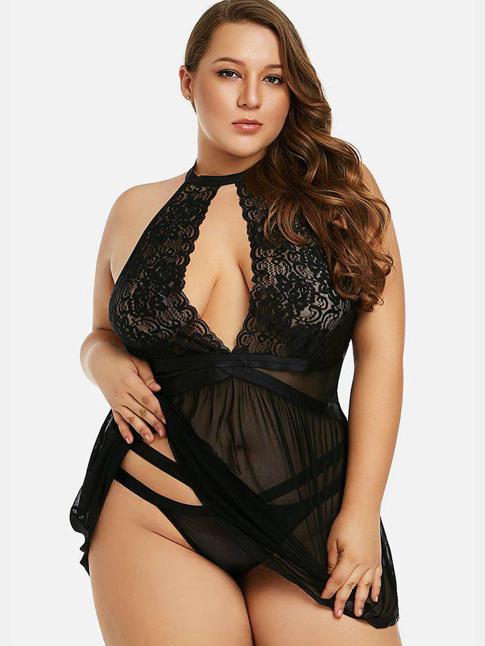 Discount Front Cut Out Plus Size Mesh Babydoll