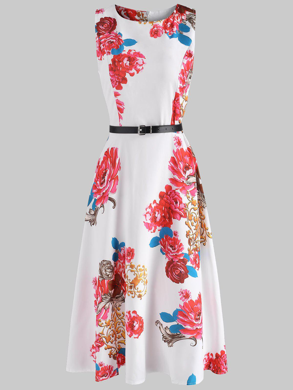 Chic Belted Flower Flare Dress
