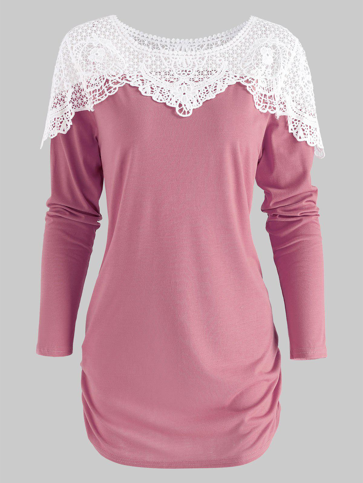 Chic Sheer Lace Panel T Shirt