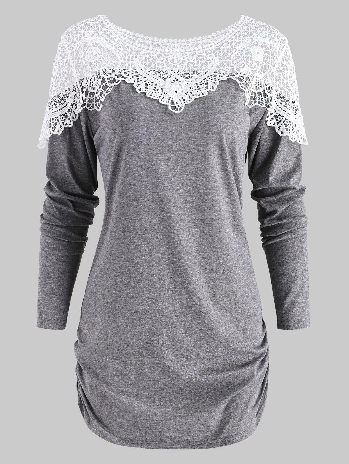 Affordable Sheer Lace Panel T Shirt