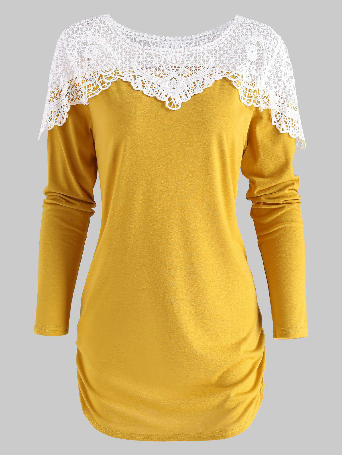 Discount Sheer Lace Panel T Shirt