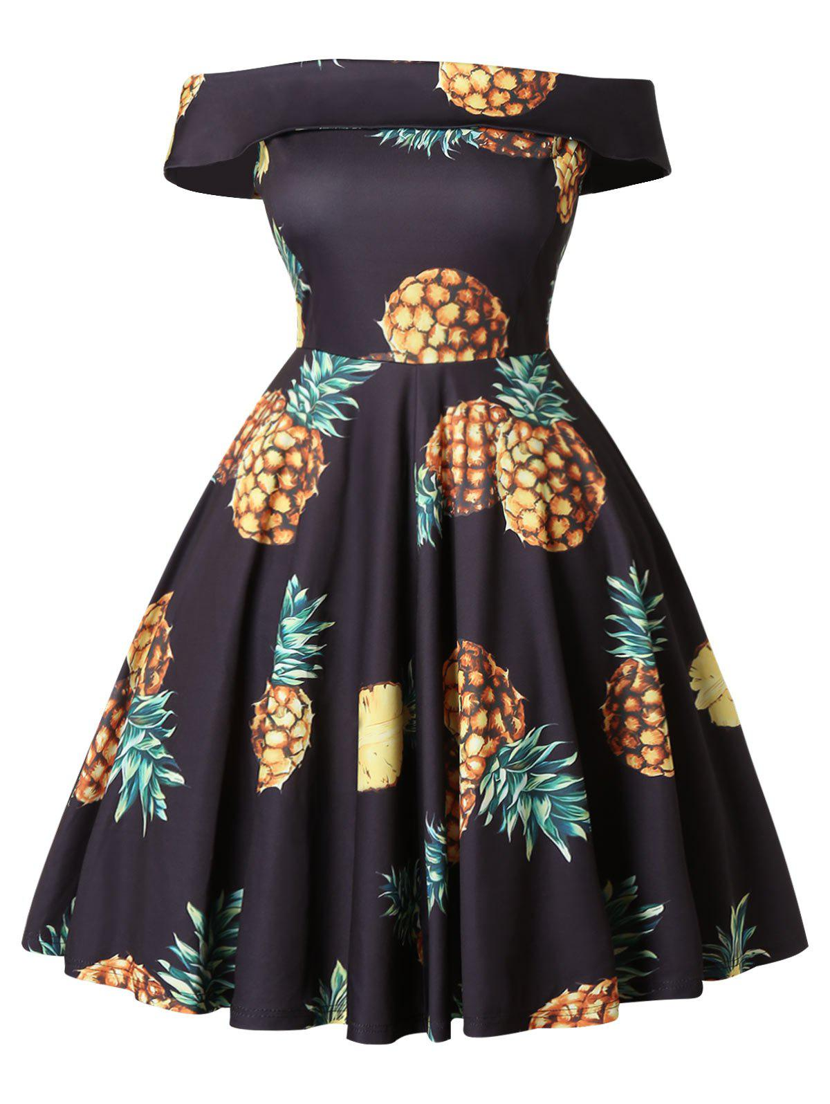 Hot Off The Shoulder Plus Size Pineapple Print A Line Dress