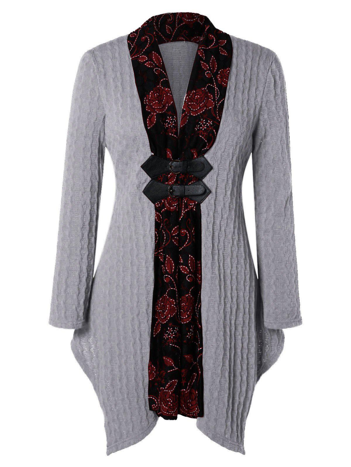 Shops Plus Size Floral Trim Asymmetrical Cable Knit Cardigan