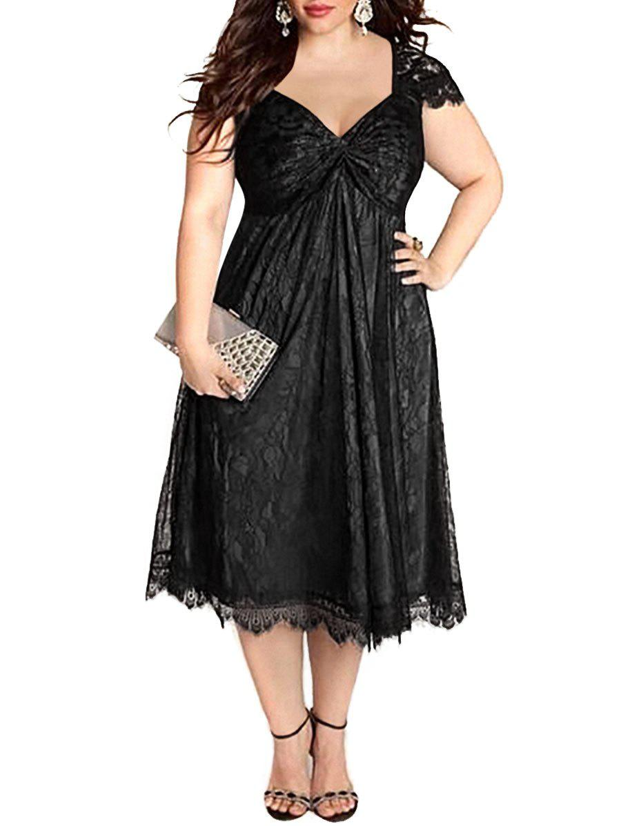 Best Eyelash Lace Hem Plus Size Cap Sleeve A Line Dress