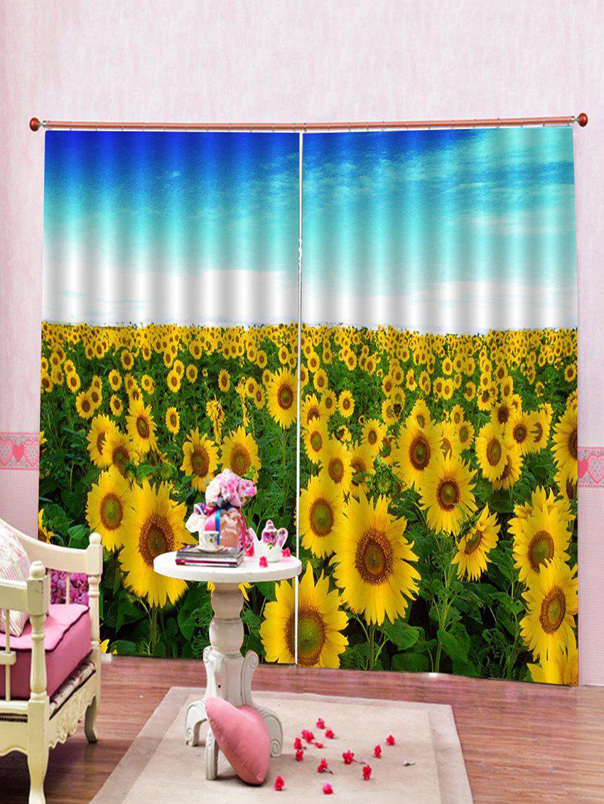 Latest 2PCS Sunflower Print Window Curtains