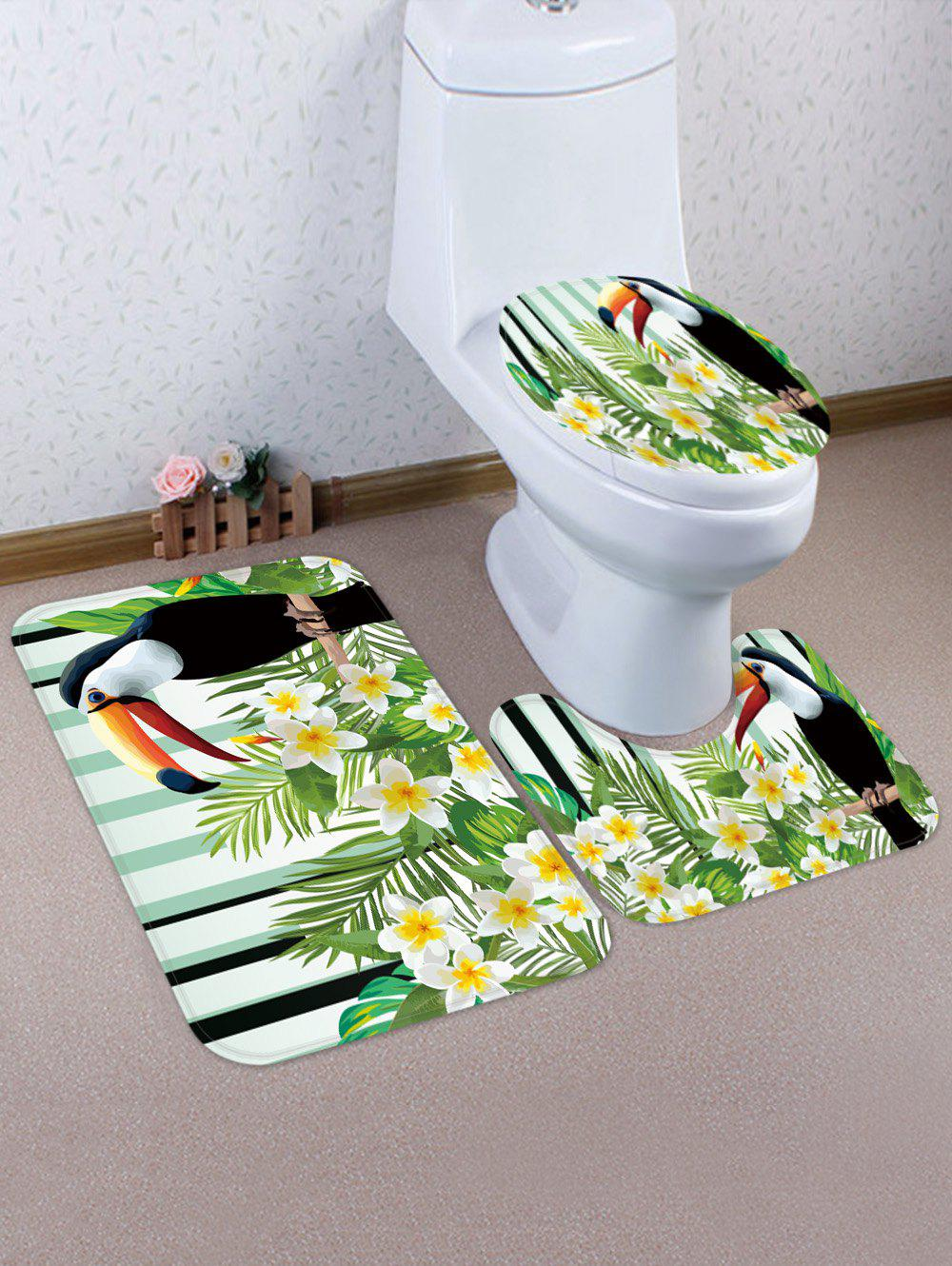 Store Flower Bird 3 Pcs Bathroom Toilet Mat