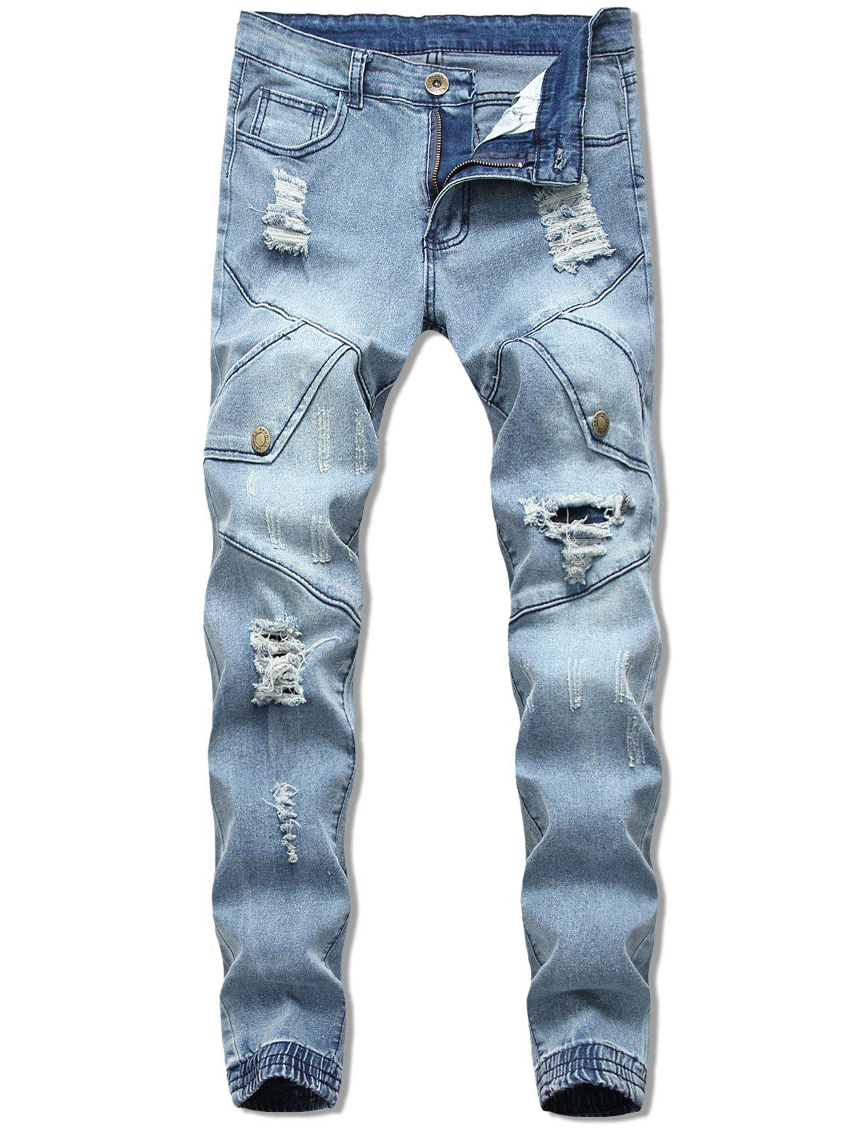 Discount Button Embellish Destroyed Jeans
