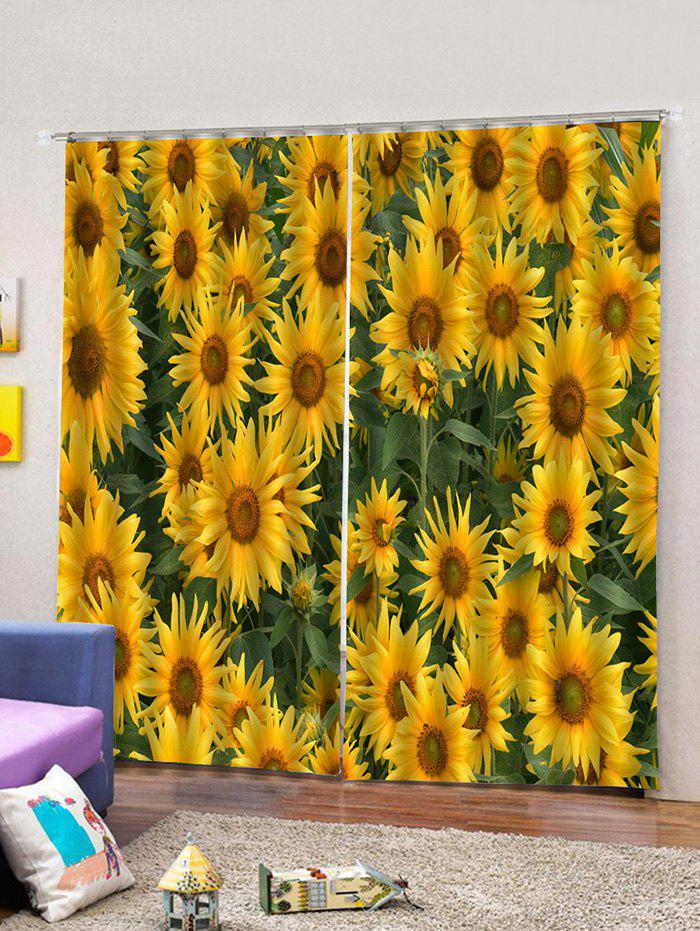 Outfits 2PCS Sunflower Printing Window Curtains