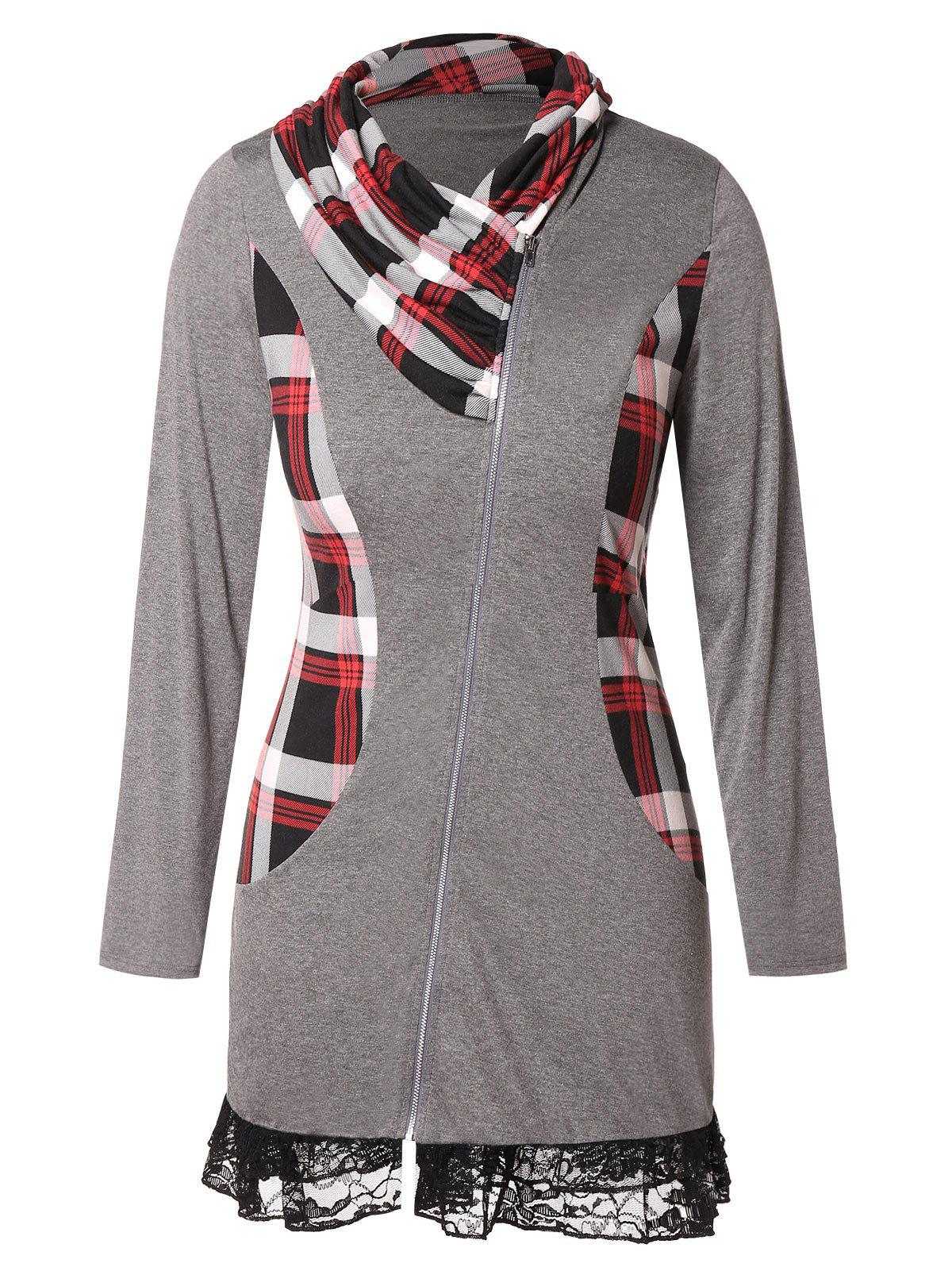 Sale Plus Size Lace Insert Plaid Zip Fly  Coat
