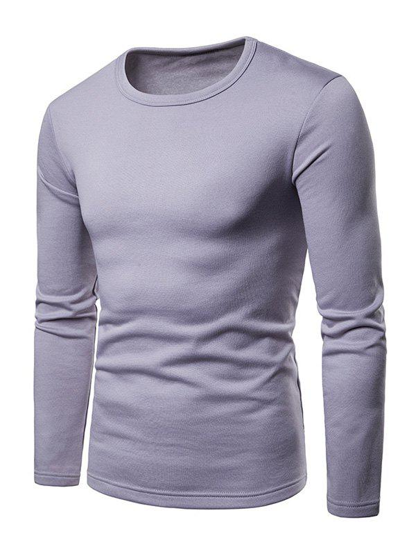 Hot Basic Solid Color Fleece T-shirt