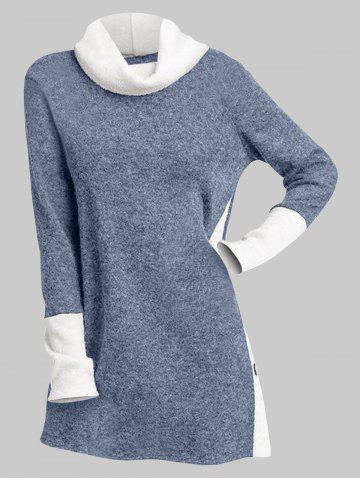 Cowl Neck Two Tone Buttons Slit Long Top