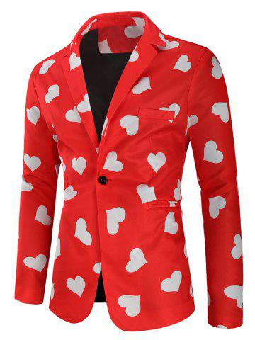 Love Heart Print Valentine's Day Casual Blazer