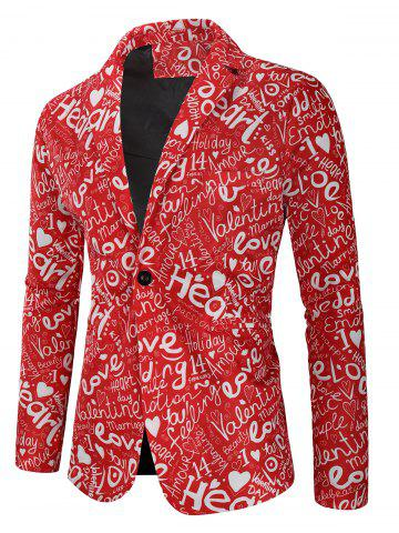 Valentine's Day Letters Heart Print Casual Blazer