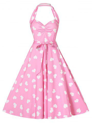 Fit and Flare Peach Heart Print Dress