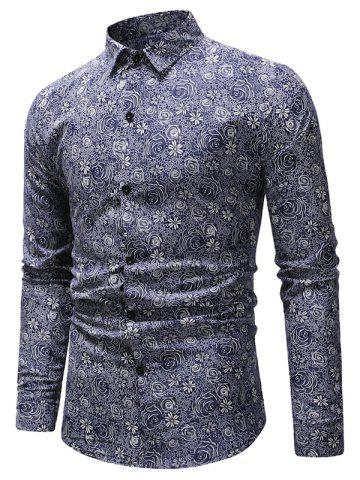 Long Sleeves Floral Print Slim Fit Shirt