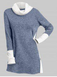Cowl Neck Two Tone Buttons Slit Long Top -
