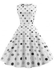 Sleeveless Polka Dot Belted Flare Dress -