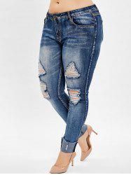 Plus Size Ripped Pencil Jeans -