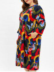 Abstract Pattern Plus Size Round Neck Shift Dress -