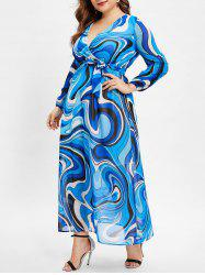 Plus Size Abstract Print Long Sleeve Wrap Dress -