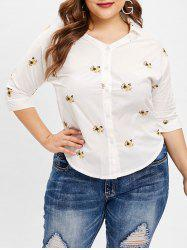 V Neck Plus Size Floral Embroidered Blouse -