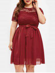 Lace Panel Sheer Plus Size A Line Dress -