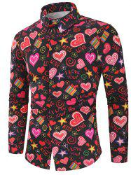 Valentine's Day Heart Letters Flowers Print Casual Shirt -
