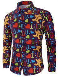 Valentine's Day Letters Heart Print Casual Shirt -
