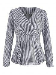 Wrap Long Sleeve Checked Top -