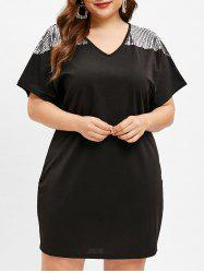 V Neck Plus Size Sequin Embellished Shift Dress -