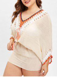 Crochet Insert Plus Size Tunique Cover Up - Abricot Taille Unique