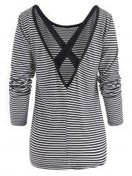 Striped Criss Cross Long Sleeve Top -