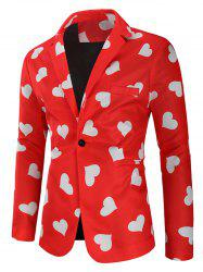 Love Heart Print Valentine's Day Casual Blazer -