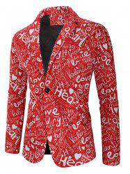 Valentine's Day Letters Heart Print Casual Blazer -